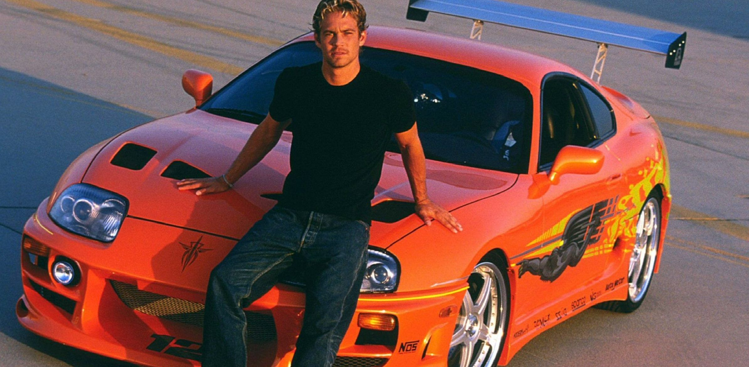 Fast And Furious Iconic Toyota Car Canvas Picture 20x30 Inch Orange Supra