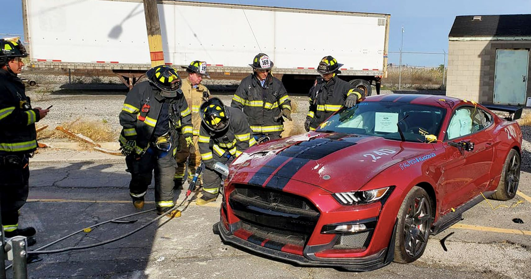 Firefighters Destroy A Mustang Shelby Cobra GT500 For Training Purposes