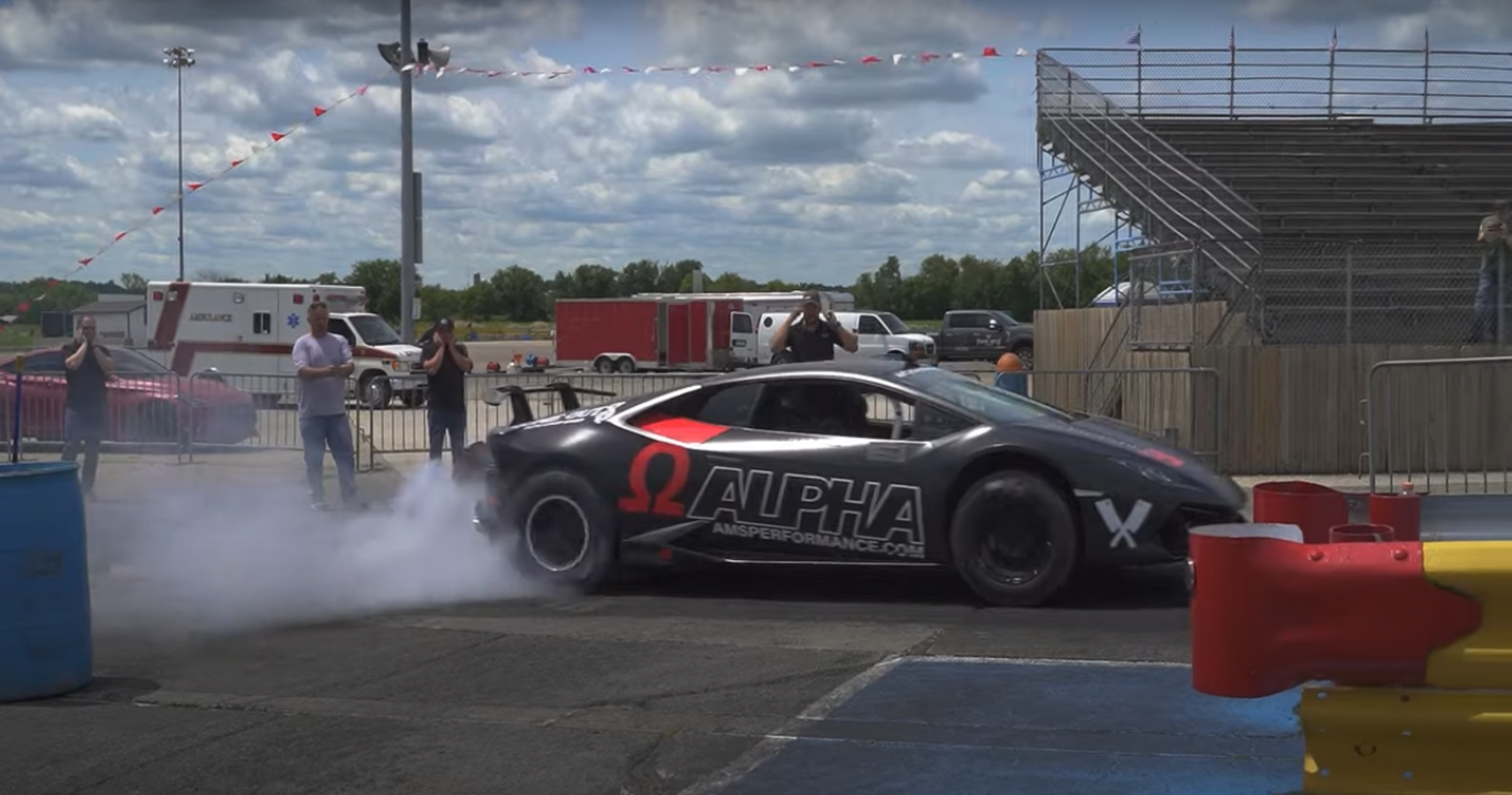 Watch This 1400-HP Lamborghini Huracan Pop Wheelies At The Track