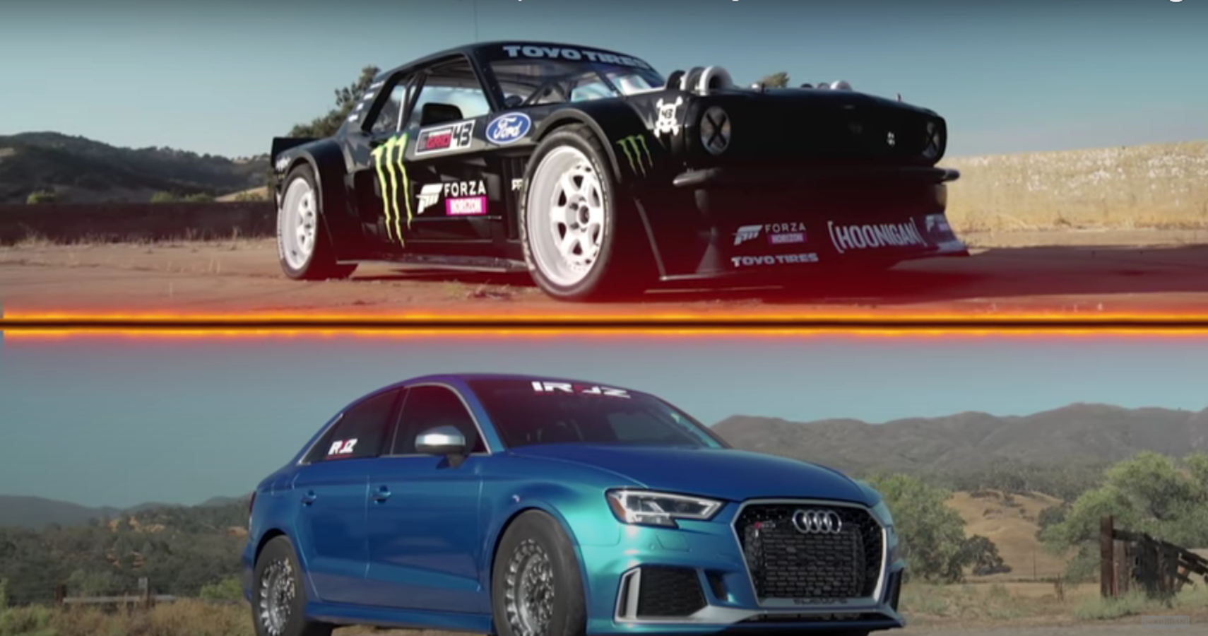 World's Fastest Audi RS3 Drag Races Ken Block's 1400-HP Mustang Hoonicorn