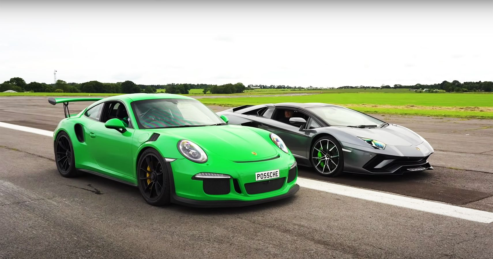 Watch This Porsche 911 GT3 RS Get Left In The Dust In By A Lamborghini Aventador S Roadster