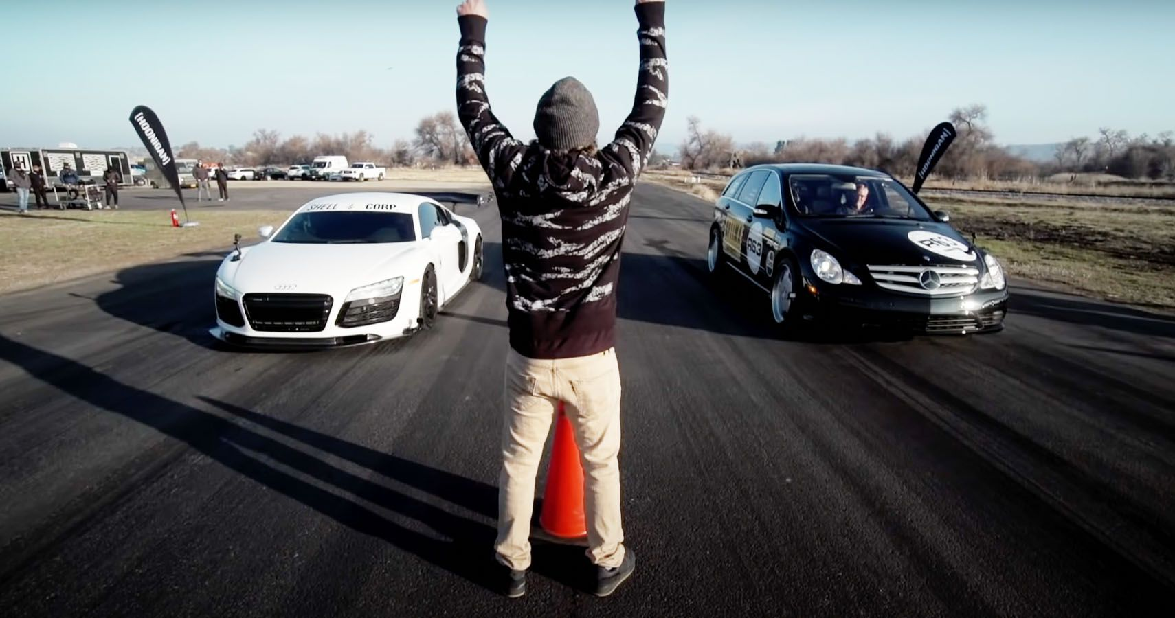 Watch The World's Fastest Minivan Drag Race A Supercharged Audi R8