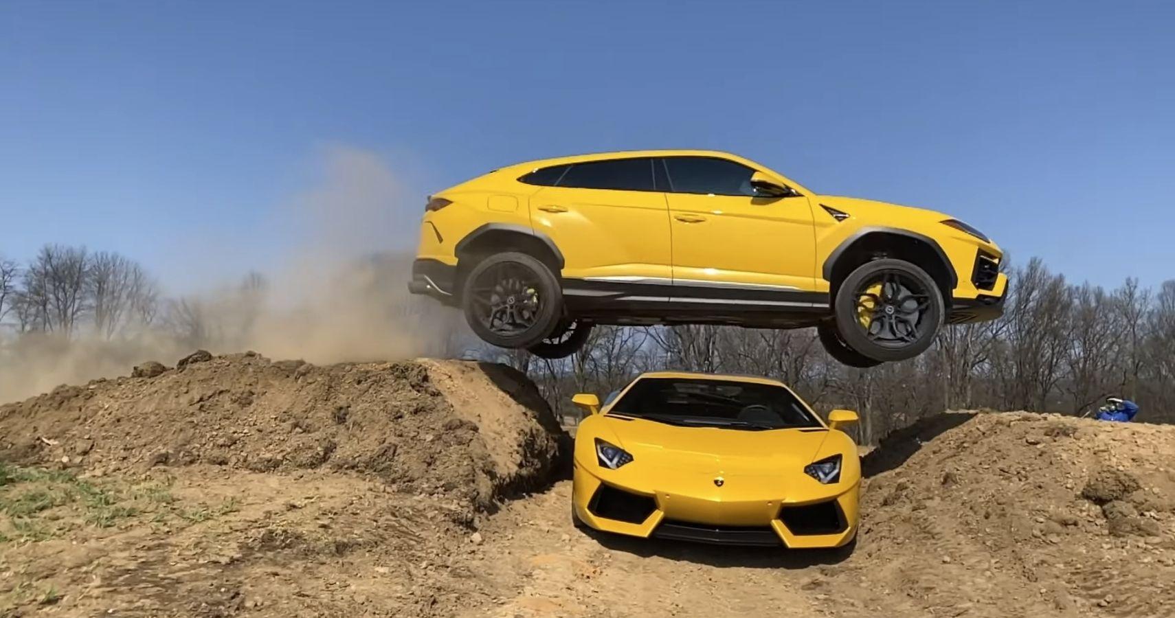 YouTuber Pulls Risky Stunt Jumping A Lamborghini Urus Over His Fiance's Aventador