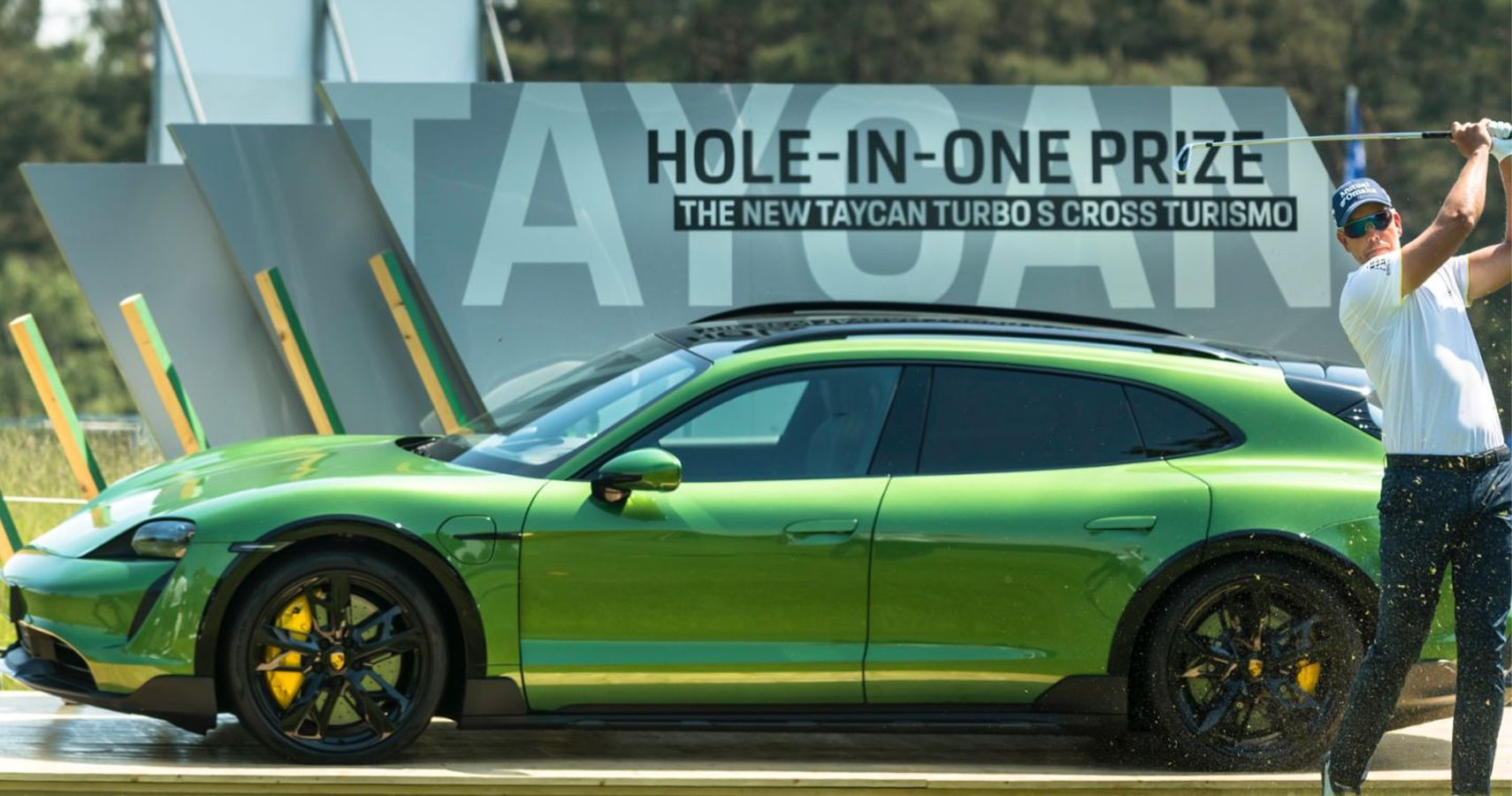 Typically Cool Swedish Golf Pro Henrik Stenson Gets Excited Taking The Porsche Taycan For A Spin